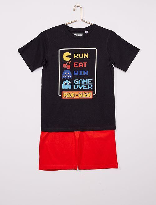Pigiama corto 'Pac-Man'                             nero/rosso