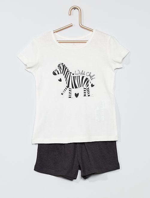 Pigiama corto 'zebra'                                                                 BIANCO