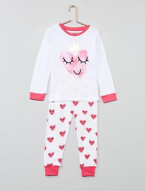 Pigiama lungo 'cuore'                             bianco/rosa Infanzia bambina