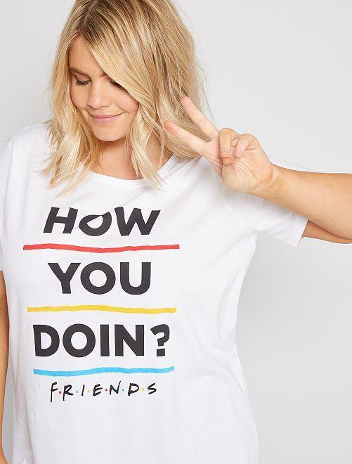 Pigiama lungo 'Friends'                             bianco/nero
