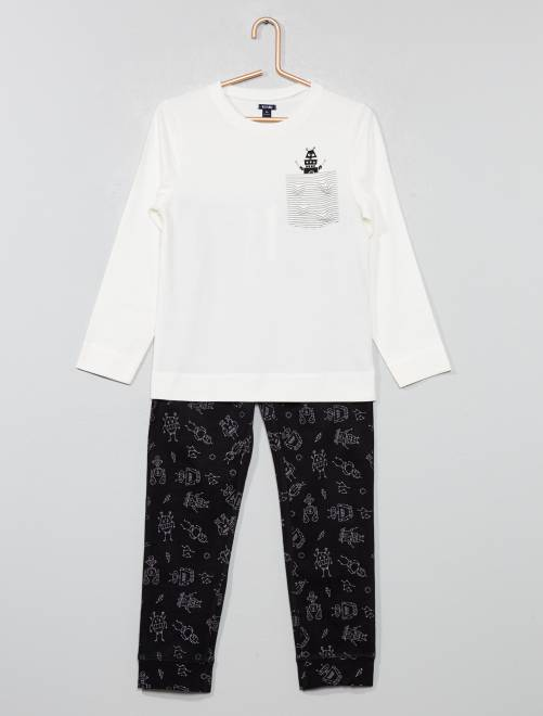 Pigiama lungo jersey con stampa                                         nero/bianco Infanzia bambino