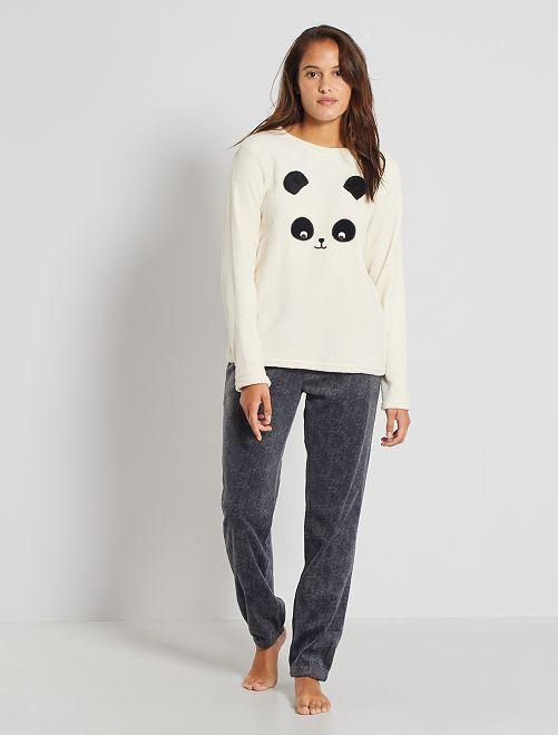 Pigiama 'panda' in maglia peluche                                                                 GRIGIO