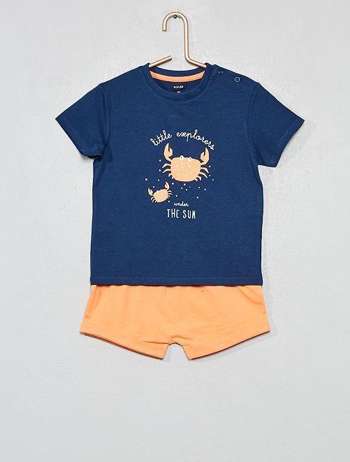 Pigiama pantaloncini stampato                                                                 BLU Neonato