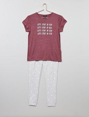 9b64fc6032 Bambina 10-18 anni - Pigiama stampato messaggio e cuori - Kiabi