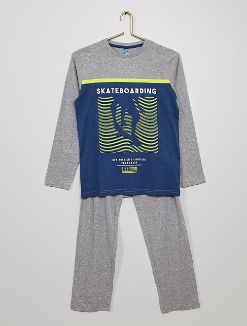 Pigiama stampato 'skate'                                         grigio/blu