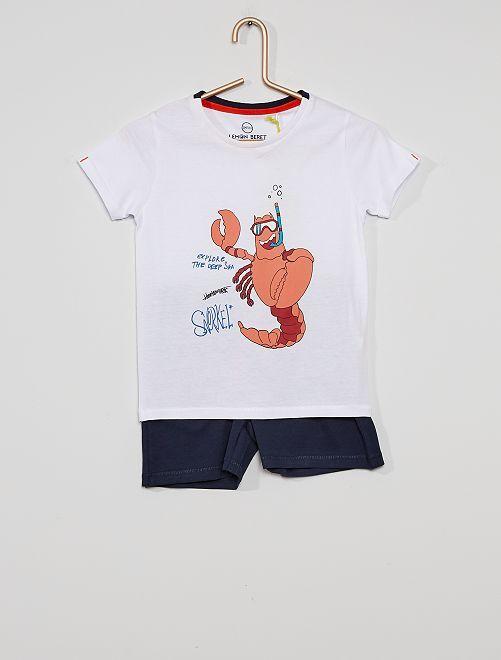 Pigiama T-shirt + shorts                             bianco