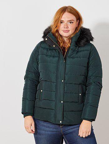 Taglie forti donna - Piumino con zip e cappuccio pelliccia ecologica - Kiabi 43ce6fe87e0