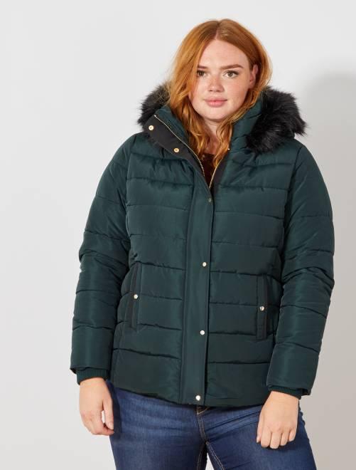 Piumino con zip e cappuccio pelliccia ecologica                             verde Taglie forti donna