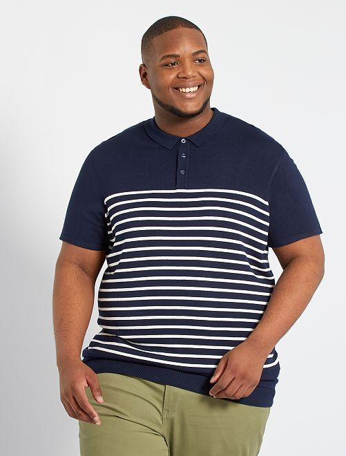 Polo a righe in maglia tricot                             blu nero