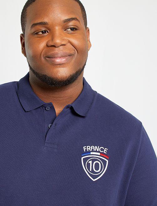 Polo calcio ricamata Francia                             BLU