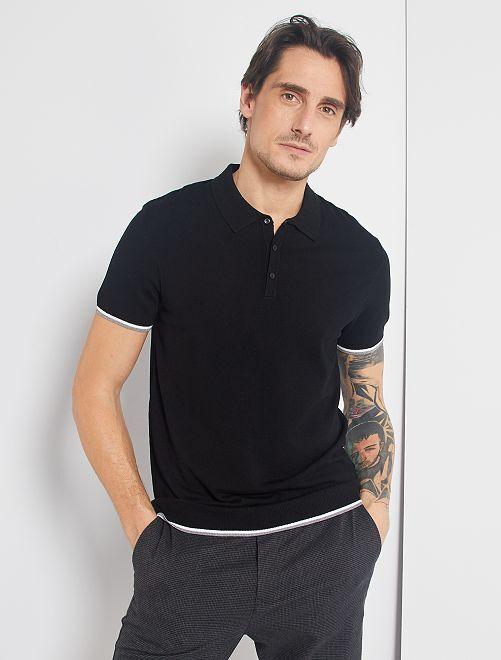 Polo in maglia fine                                         nero