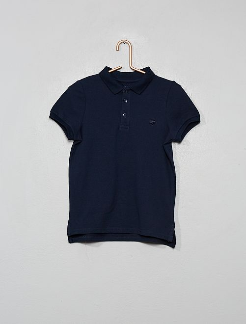 Polo in maglia piqué eco-sostenibile                                         blu