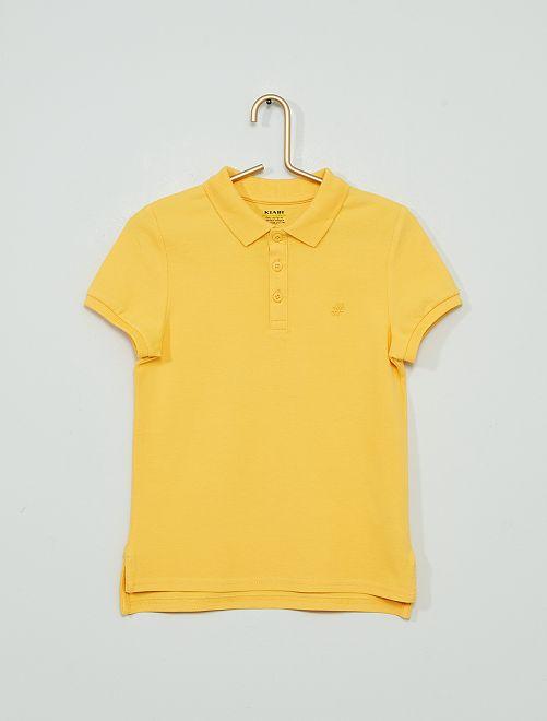 Polo ricamata eco-sostenibile                                                                                         giallo crema