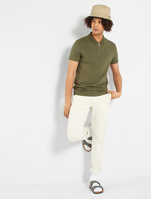 Polo slim collo con zip                                                     KAKI