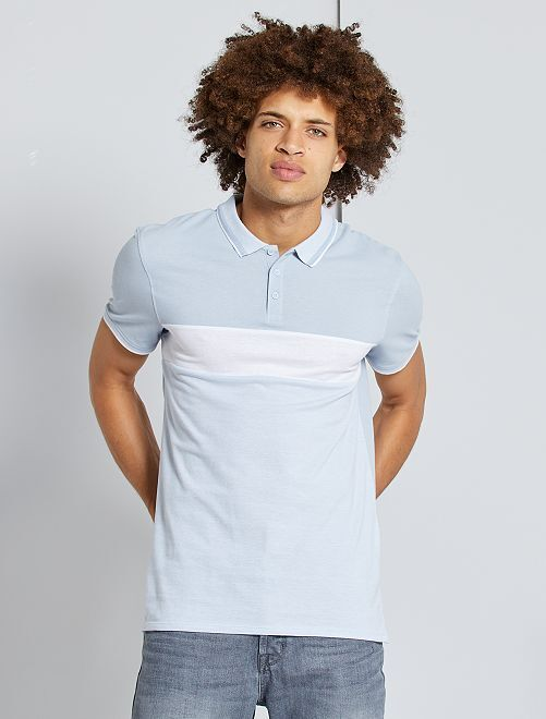 Polo slim colorblock                             BIANCO
