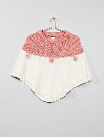 Poncho lavorato a maglia con pompon - Kiabi