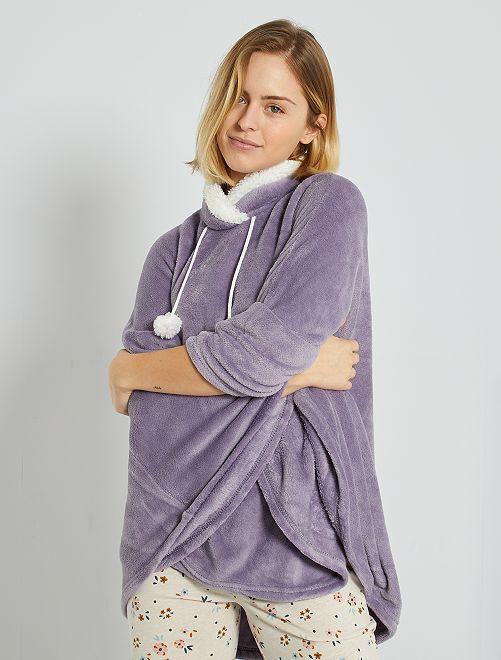 Poncho maglia peluche                                         grigio
