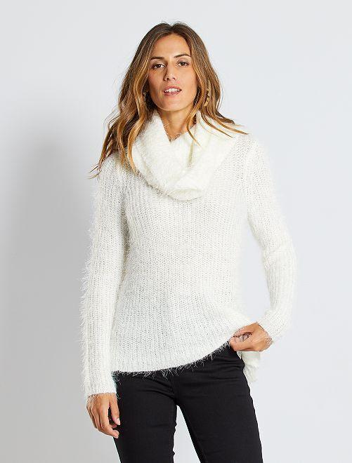 Pull + collo alto amovibile maglia doudou                                                     bianco