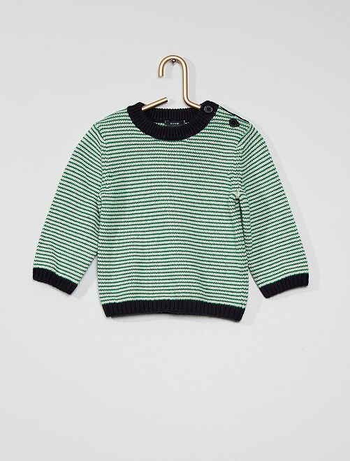Pullover a righe eco-sostenibile in maglia                                         VERDE