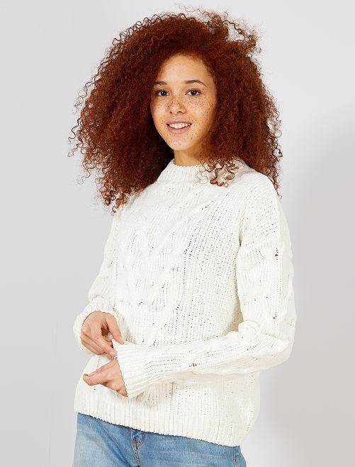 Pullover a trecce maglia ciniglia                                                                 bianco neve Donna