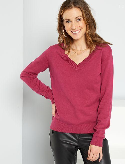 Pullover basic con scollo a V                                                                                                                 rosso