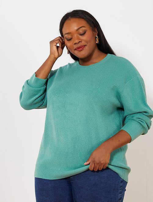 Pullover basic maglia perlata                                                                 VERDE