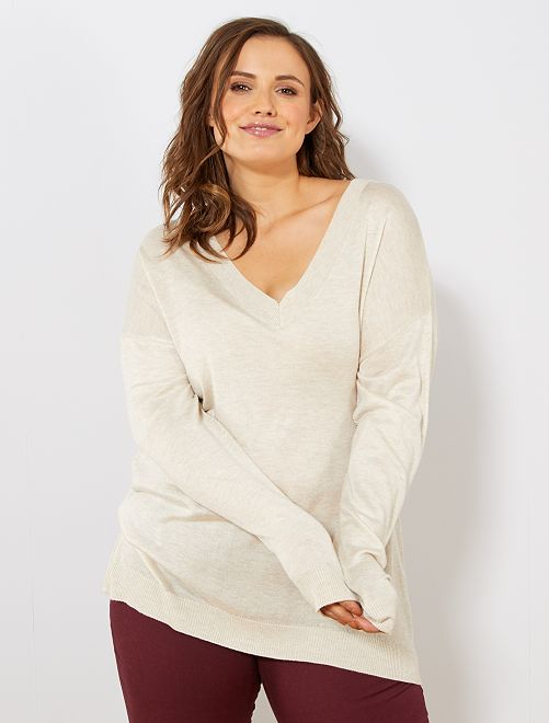 Pullover basic maglina                                                                             BEIGE