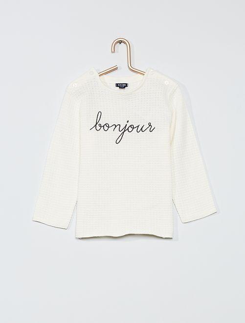 Pullover 'Bonjour' in maglia leggera                                         BIANCO