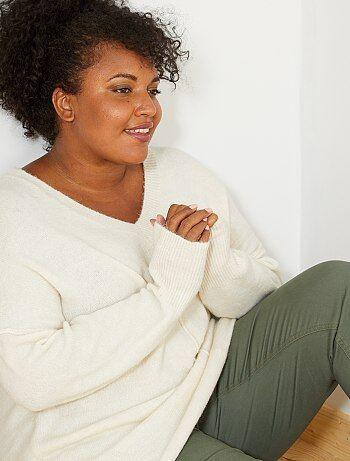 Taglie forti donna - Pullover collo a V - Kiabi