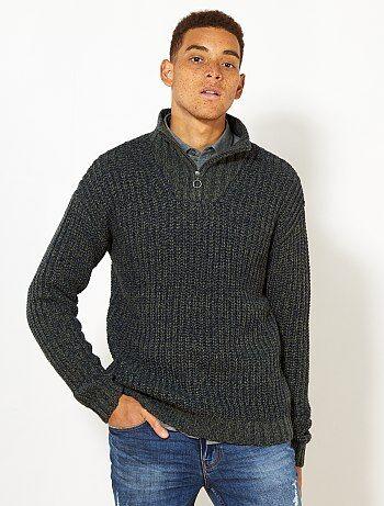 Pullover collo montante con zip - Kiabi