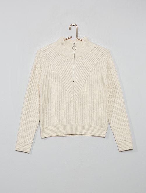 Pullover collo montante con zip                                                     melange beige