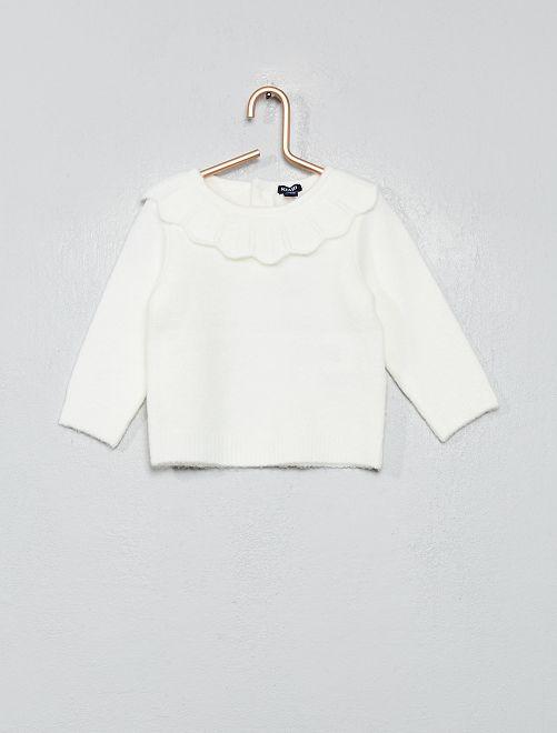 Pullover con colletto                                                     bianco neve