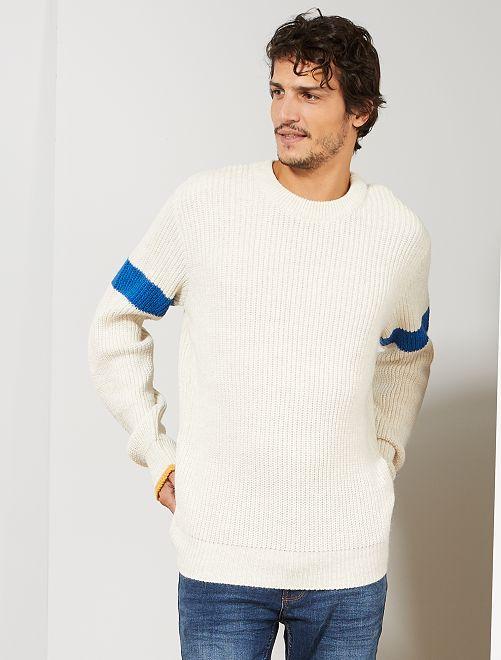 Pullover con fasce                             BIANCO