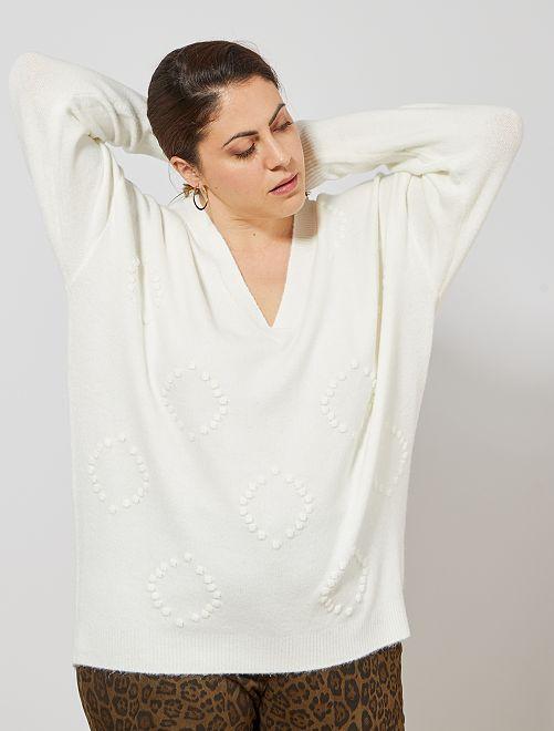 Pullover con rilievo                                         bianco neve Taglie forti donna