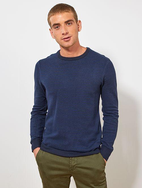 Pullover cotone bio                                                     blu chiaro/blu scuro
