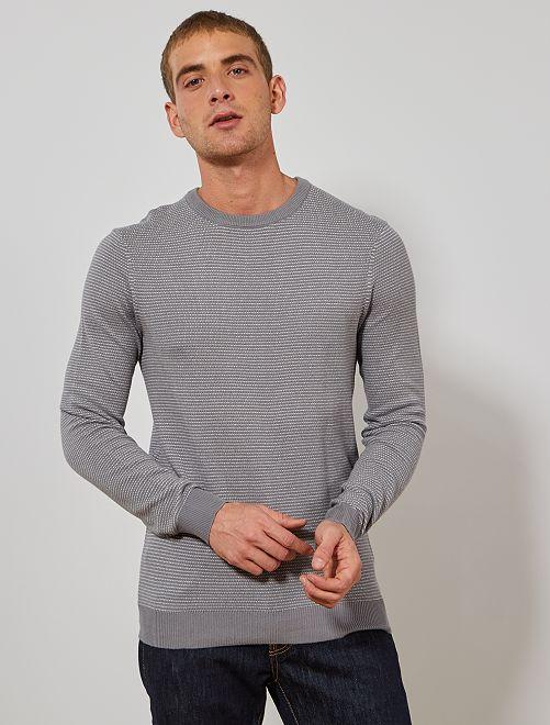 Pullover cotone bio                                                     grigio/bianco