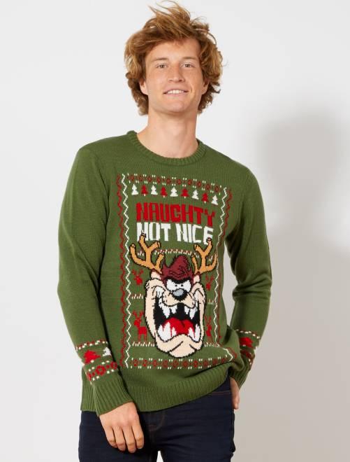 Pullover di Natale 'Taz'                             verde Uomo