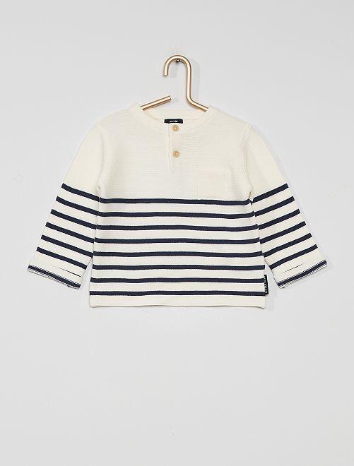Pullover eco-sostenibile                                             BIANCO/blu marine