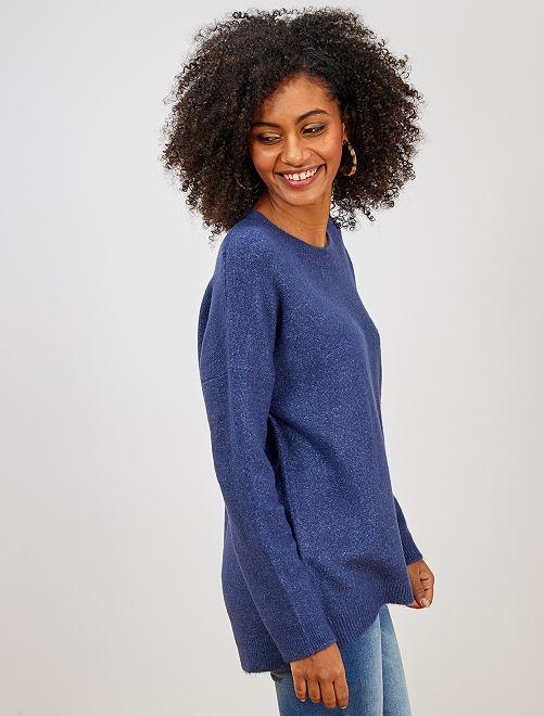 Pullover girocollo basic                                                                                                     blu cobalto