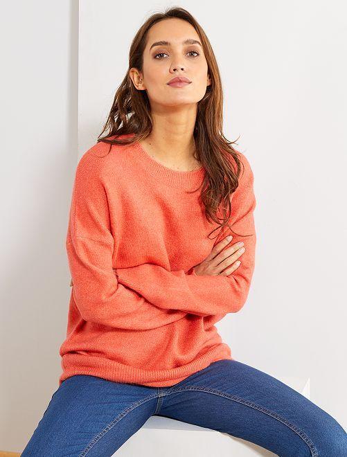 Pullover girocollo basic                                                                                                     rosa arancione