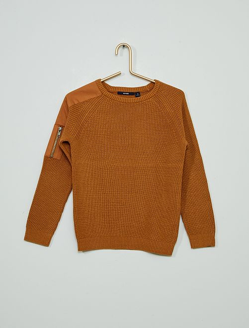 Pullover in maglia a coste                     BEIGE