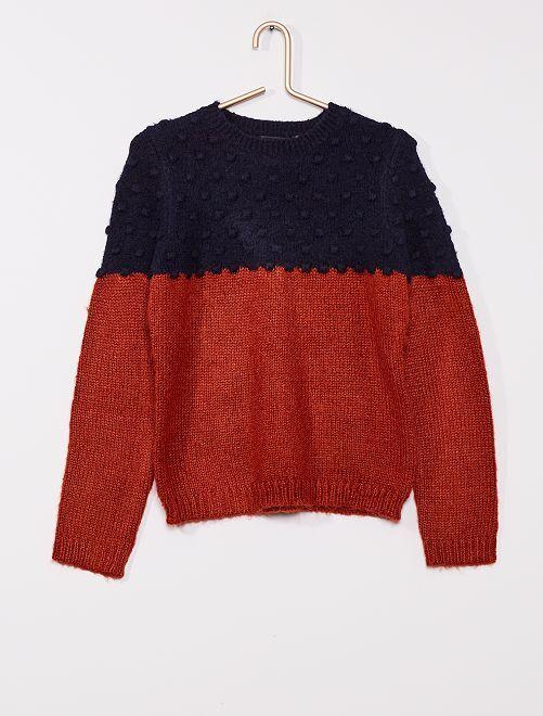 Pullover in maglia a coste bicolore                                         BLU
