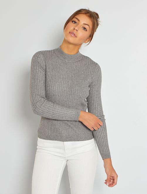 Pullover in maglia aderente con collo a lupetto                                                                 GRIGIO