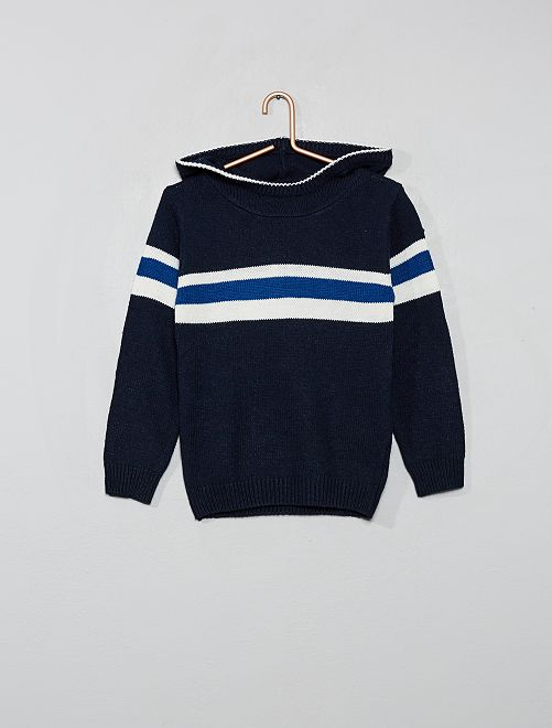 Pullover in maglia con cappuccio                                                                 blu