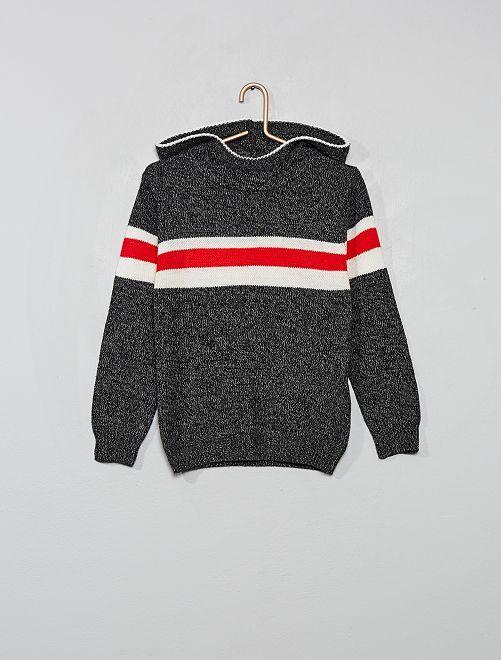 Pullover in maglia con cappuccio                                                                 GRIGIO