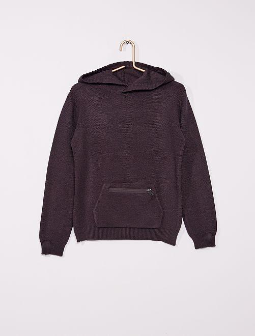 Pullover in maglia con cappuccio                             grigio scuro