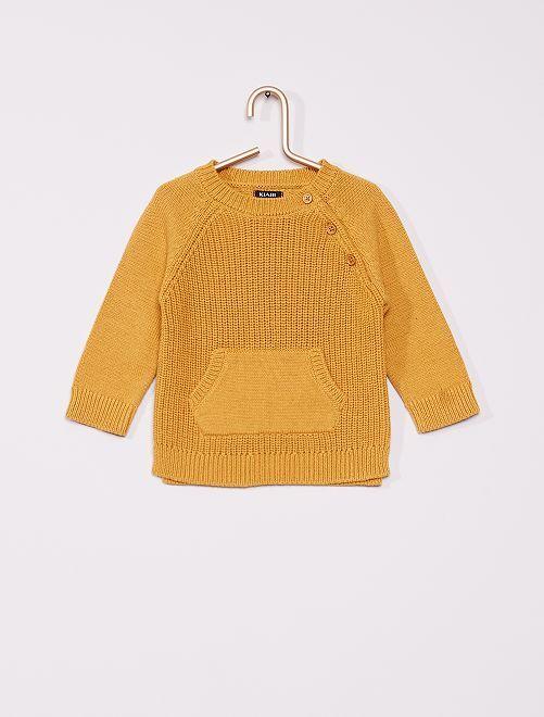 Pullover in maglia con gioco di punti                                         giallo bronzo