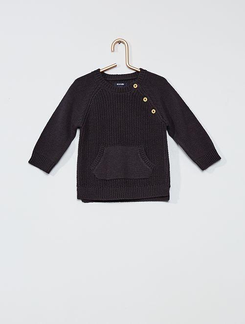 Pullover in maglia con gioco di punti                                         grigio scuro