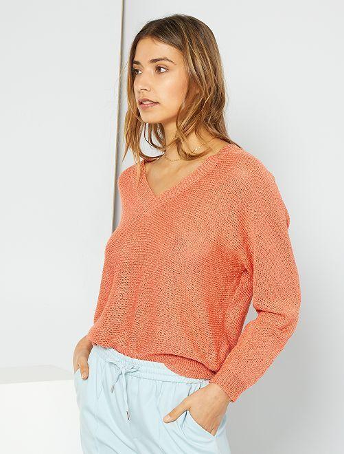 Pullover in maglia con nastro                                                                 ARANCIONE