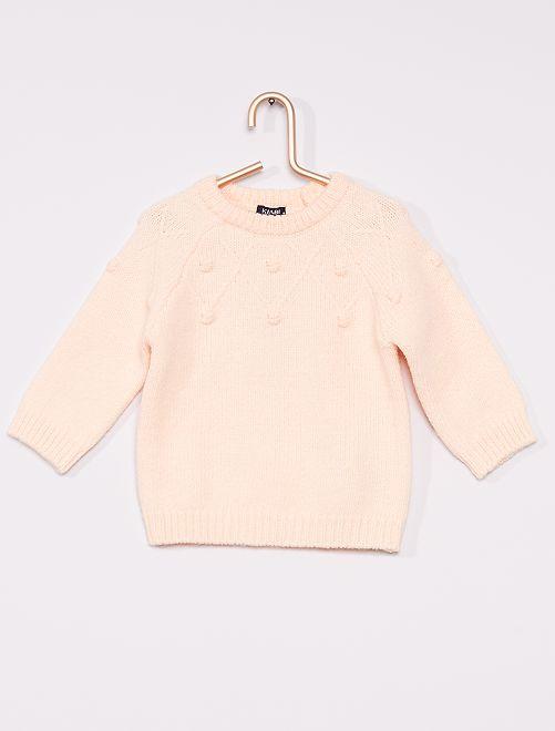 Pullover in maglia con pompon                             ROSA
